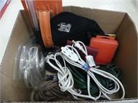 BOX: HEDGE TRIMMER, STUD FINDER, BIT SET ETC.