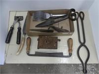 BOX: ANTIQUE TOOLS & HARDWARE