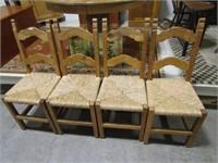 SET OF 4 RUSH BOTTOM DINING ROOM CHAIRS