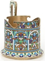 Russian Silver Gilt & Enamel Tea Cup Holder