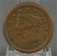 1851 Braided Hair Large cent