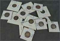 13 Barber Silver Dimes 1897-1916