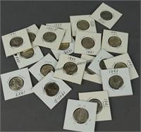 20 Mercury Silver Dimes 1935-1941
