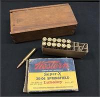 13-Springfield 30-06 Bullets w/Wooden Box