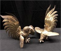 Vintage Brass Fighting Roosters