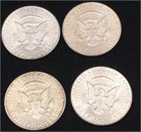 4-1964 Silver Kennedy Half Dollars