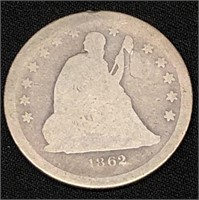1862 Seated Liberty Quarter