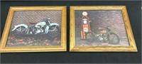 2-Framed Harley Davidson 8X10 Prints