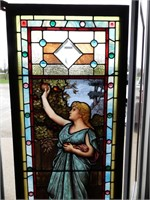 INCREDIBLE ANTIQUE STAINED GLASS WINDOW W/JEWELS