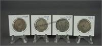 4 Barber Quarters 1908 1908-D 1908-O 1909