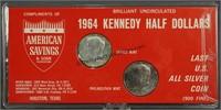 1964 P&D  Kennedy BU Silver Half Dollars