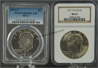 1971-S Eisenhower Silver Dollars MS65 & PR69 DCAM