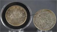 1966 Canada & 1968 Mexican Silver Dollar Coins