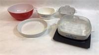 5 Pieces Corning Ware Pots 2 W/ Lids & Pyrex Bowl