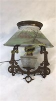 Antique Electrified Hanging Oil Lamp Painted Shade