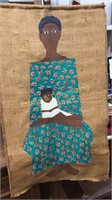 Vintage Mother & Child Hanging Sewn Wall Art