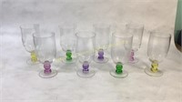 8 Vintage Glass Cups With Colored Stems