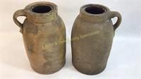 2 Primitive Antique Stoneware Handled Jars