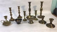 9 Brass Candlestick Holders & 2 Dishes