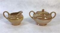 Vintage Japan Luster-Ware Orange Tea Set