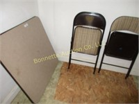 TABLE W/ TWO CHAIRS, RADIO, TV