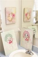 2 Brannon -Clown Portraits Oil on Canvas & Flowers