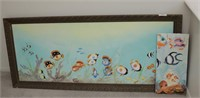 Brannon - Lg Framed Aquatic Oil on Canvas & Other