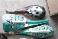 7pc Masks, Skull & Cayman Palm Bark Art