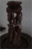 "Wood Bowl & 14"" African Sculpture"