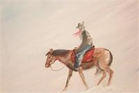 Cowboy in a blizzard - oil on canvas - Brannon