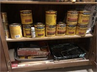 Lot of wood working finishes, stains, paints, and