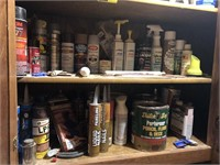 Cabinet full of wood working items, paint,