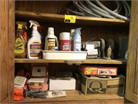 Lot of cleaning solutions, furniture movers, and