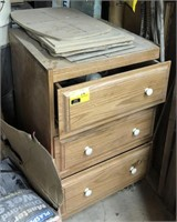 3 drawer cabinet and corner contents