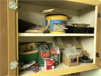 Large lot of cabinet contents