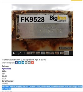 Big Iron Auction   Feed/Mixer Wagon Auction Results - 198