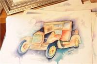 Brannon - Many Model T Watercolor Art