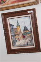 3 Brannon-Framed City/Building Scene Oil on Canvas