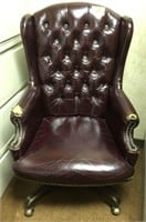 Tufted, High back leather, rolling office chair