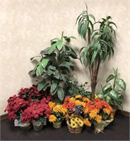 Large lot of various silk flowers