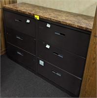Horizontal, 3 drawer, Metal filing cabinet with