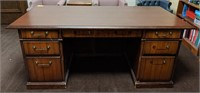 Wooden office desk with credenza