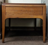 Wooden end table with drawer and side desk