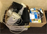 Lot of computer speakers and various ink