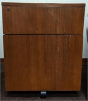Wooden filing cabinet with top drawer