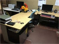 Horseshoe office desk, contents not included