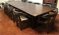 Solid wood 12'x4' conference table with 10 wooden