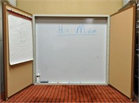 Hanging whiteboard cabinet with cork board on