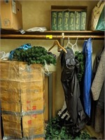Contents of closet, Christmas decor and Garland