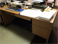 Wooden office desk, contents not included